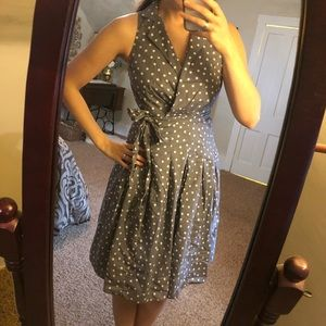 [Evan Picone] Gray Dotted Midi Housewife Dress